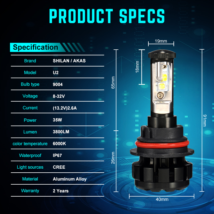 Hot Selling 40W 4800lm U2-9007 Auto LED Light